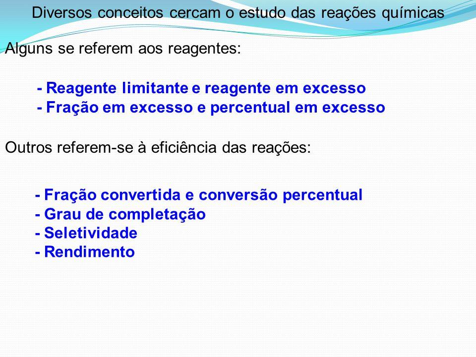 Outros referem-se à eficiência das reações: - Reagente limitante e reagente em excesso - Fração em excesso e percentual em excesso - Fração convertida