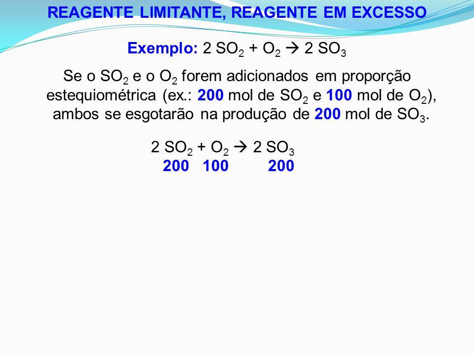 REAGENTE LIMITANTE, REAGENTE EM EXCESSO Exemplo: 2 SO 2 + O 2  2 SO 3 Se o SO 2 e o O 2 forem adicionados em proporção estequiométrica (ex.: 200 mol