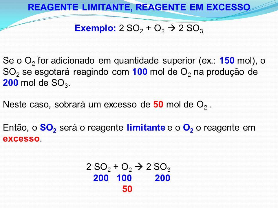REAGENTE LIMITANTE, REAGENTE EM EXCESSO Exemplo: 2 SO 2 + O 2  2 SO 3 Se o O 2 for adicionado em quantidade superior (ex.: 150 mol), o SO 2 se esgota