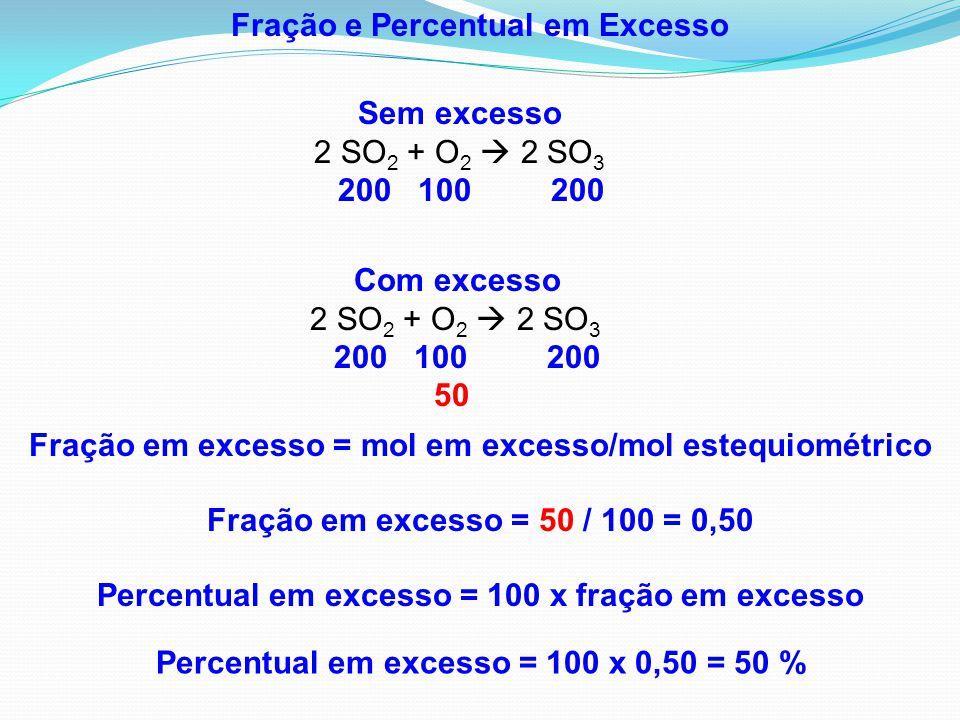 Fração e Percentual em Excesso Percentual em excesso = 100 x fração em excesso Percentual em excesso = 100 x 0,50 = 50 % Fração em excesso = mol em ex