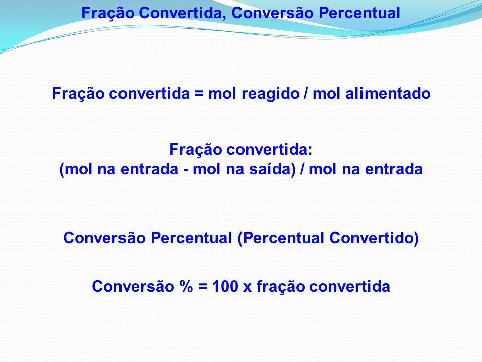Conversão Percentual (Percentual Convertido) Conversão % = 100 x fração convertida Fração Convertida, Conversão Percentual Fração convertida = mol rea