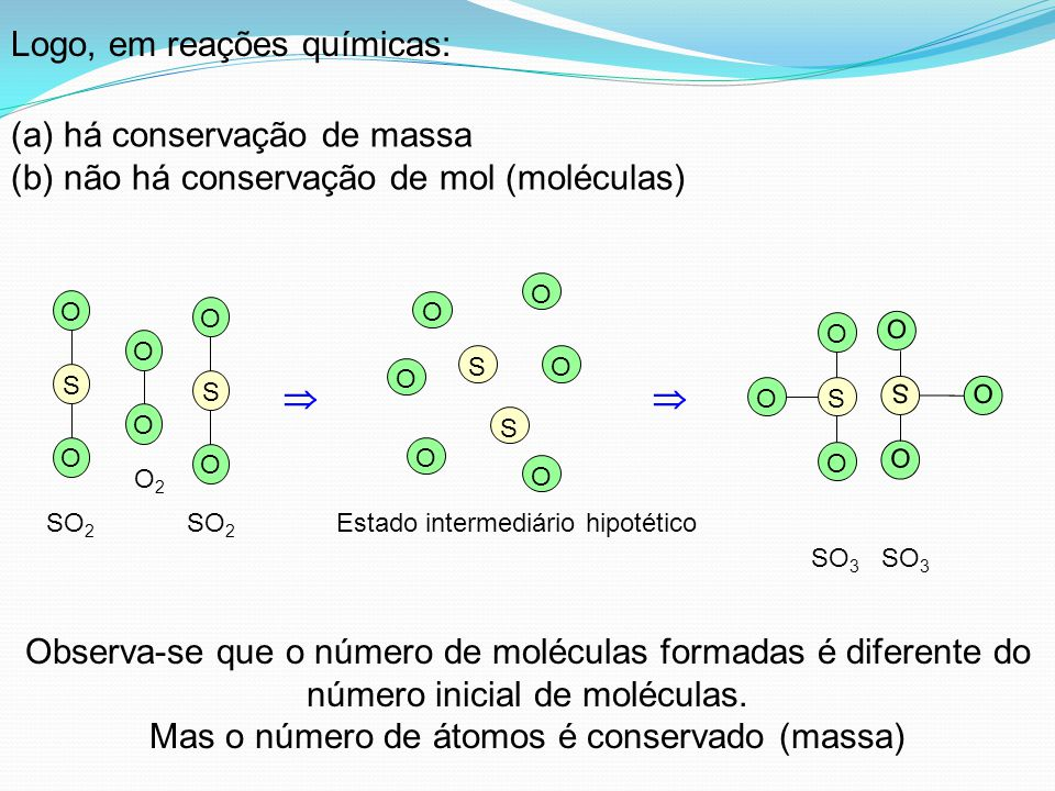  SO O O SO O O SO 3 O O S O O S O O SO 2 O2O2 Observa-se que o número de moléculas formadas é diferente do número inicial de moléculas. Mas o número