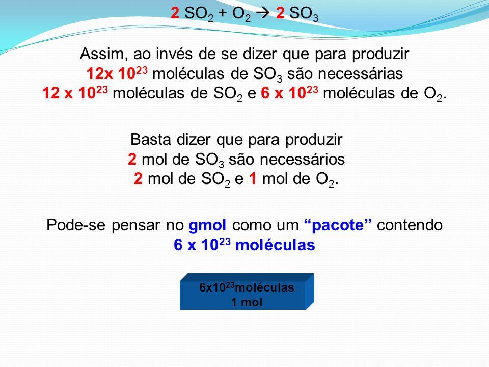 Assim, ao invés de se dizer que para produzir 12x 10 23 moléculas de SO 3 são necessárias 12 x 10 23 moléculas de SO 2 e 6 x 10 23 moléculas de O 2. B