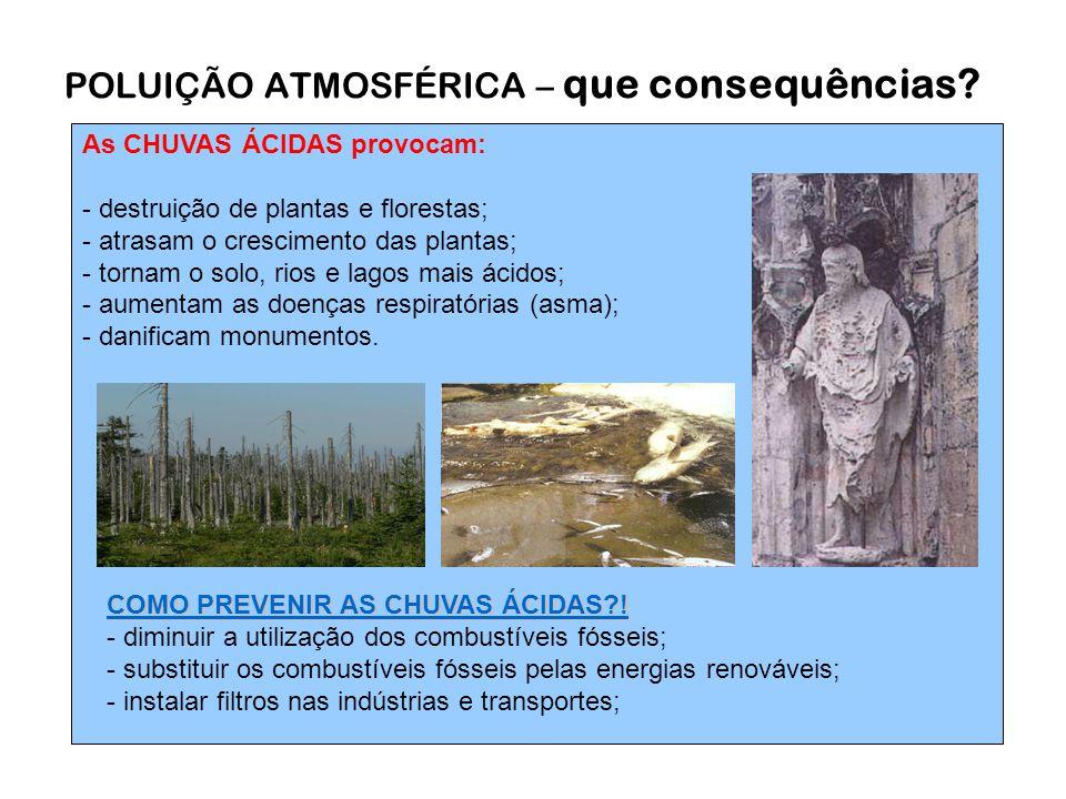 As CHUVAS ÁCIDAS provocam: - destruição de plantas e florestas; - atrasam o crescimento das plantas; - tornam o solo, rios e lagos mais ácidos; - aumentam as doenças respiratórias (asma); - danificam monumentos.