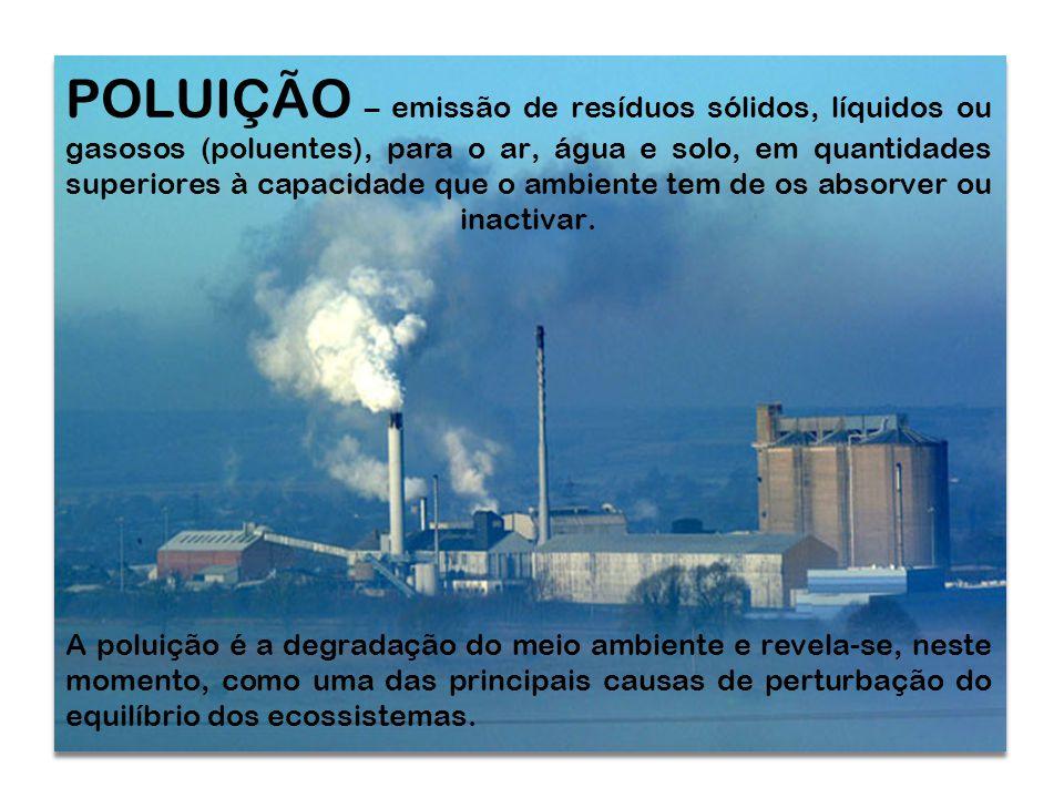 POLUIÇÃO – emissão de resíduos sólidos, líquidos ou gasosos (poluentes), para o ar, água e solo, em quantidades superiores à capacidade que o ambiente