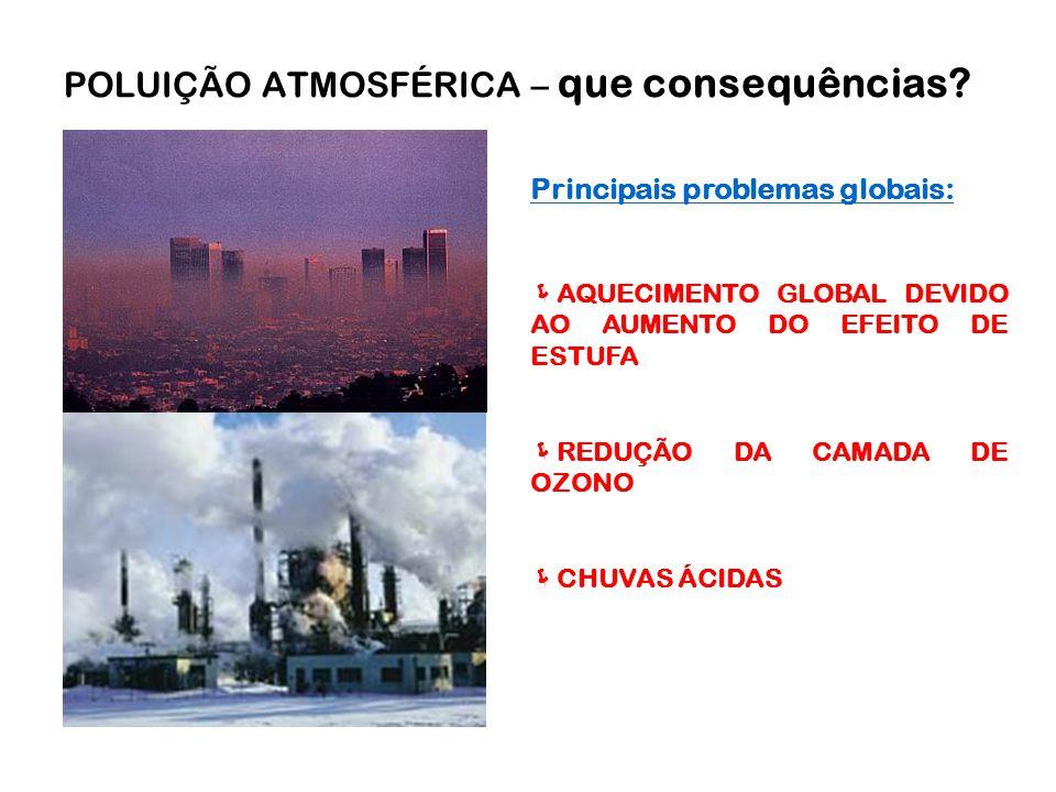 Principais problemas globais:  AQUECIMENTO GLOBAL DEVIDO AO AUMENTO DO EFEITO DE ESTUFA  REDUÇÃO DA CAMADA DE OZONO  CHUVAS ÁCIDAS POLUIÇÃO ATMOSFÉRICA – que consequências?