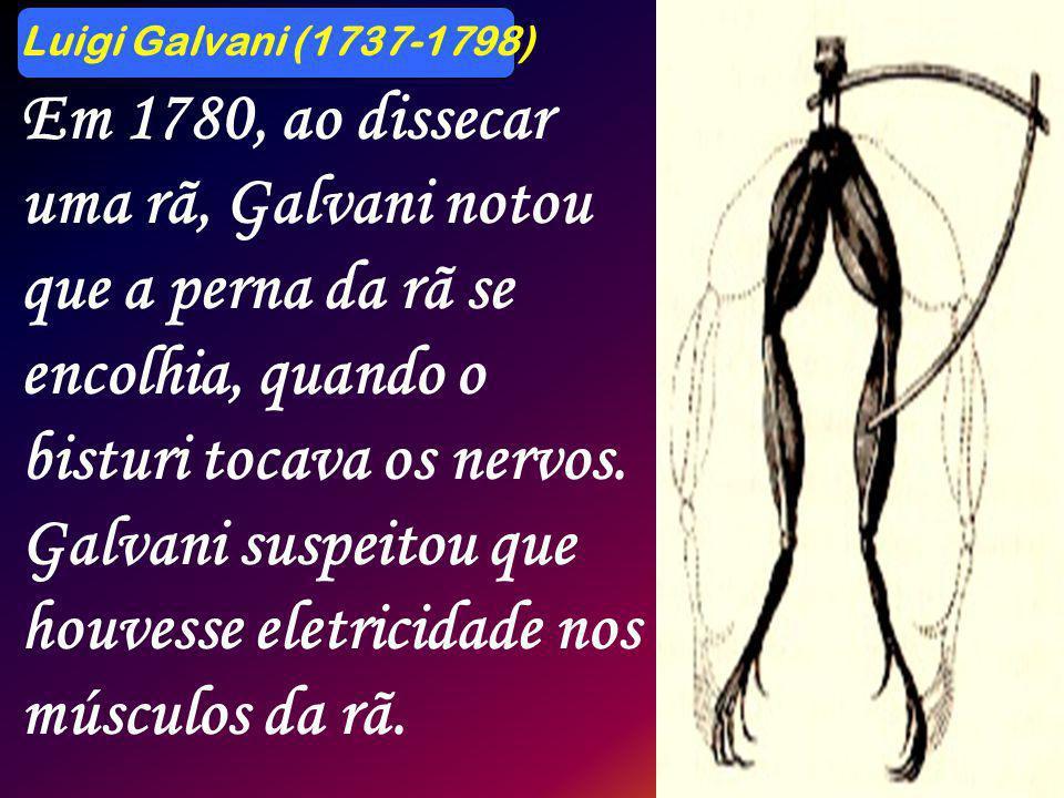 Luigi Galvani (1737-1798) Em 1780, ao dissecar uma rã, Galvani notou que a perna da rã se encolhia, quando o bisturi tocava os nervos. Galvani suspeit