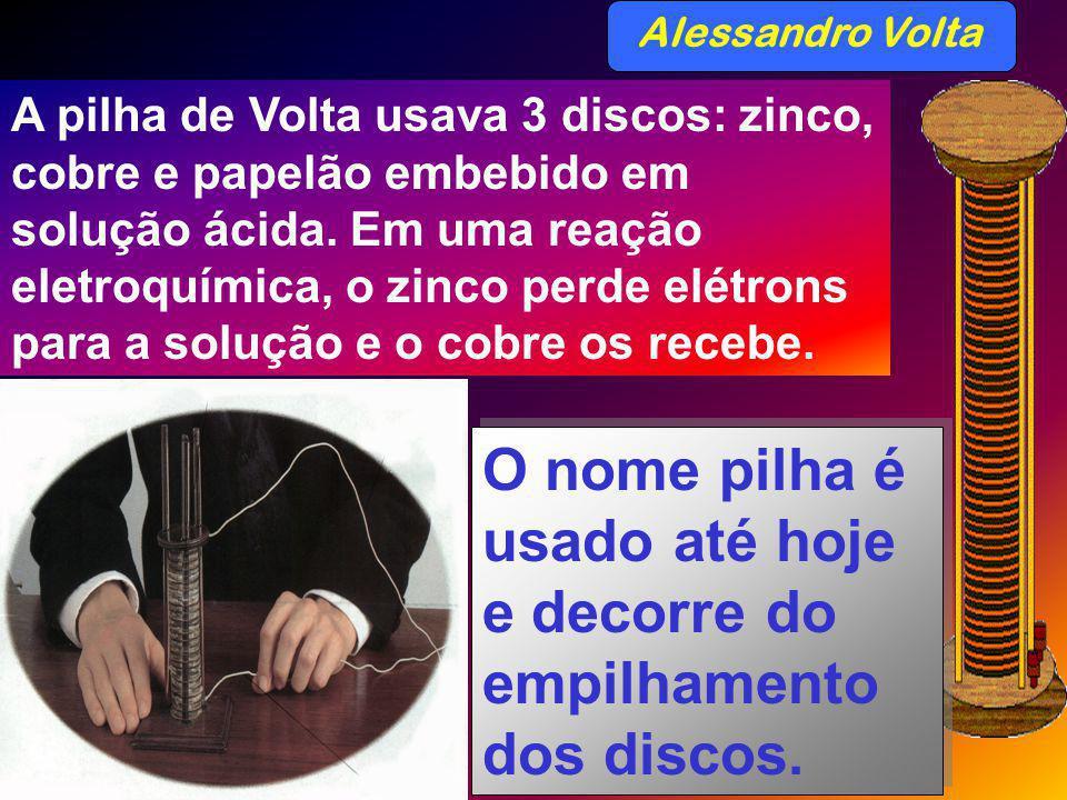 Alessandro Volta A pilha de Volta usava 3 discos: zinco, cobre e papelão embebido em solução ácida. Em uma reação eletroquímica, o zinco perde elétron