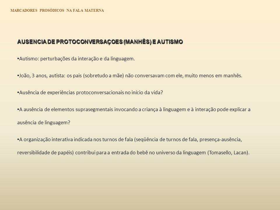 AUSENCIA DE PROTOCONVERSAÇOES (MANHÊS) E AUTISMO Autismo: perturbações da interação e da linguagem.