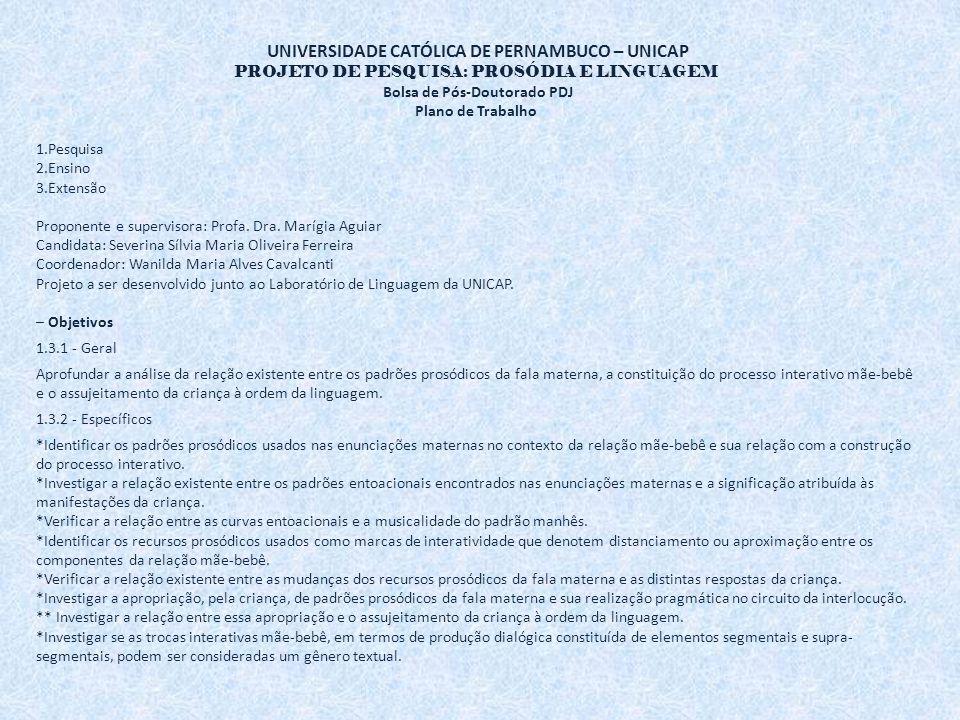 UNIVERSIDADE CATÓLICA DE PERNAMBUCO – UNICAP PROJETO DE PESQUISA: PROSÓDIA E LINGUAGEM Bolsa de Pós-Doutorado PDJ Plano de Trabalho 1.Pesquisa 2.Ensino 3.Extensão Proponente e supervisora: Profa.