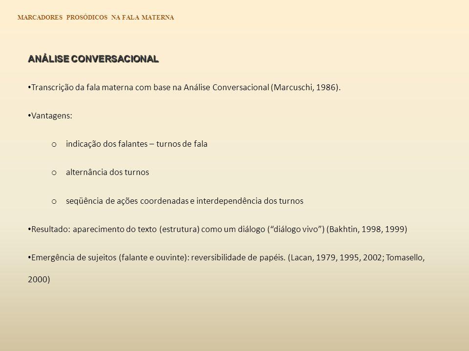 ANÁLISE CONVERSACIONAL ANÁLISE CONVERSACIONAL Transcrição da fala materna com base na Análise Conversacional (Marcuschi, 1986).