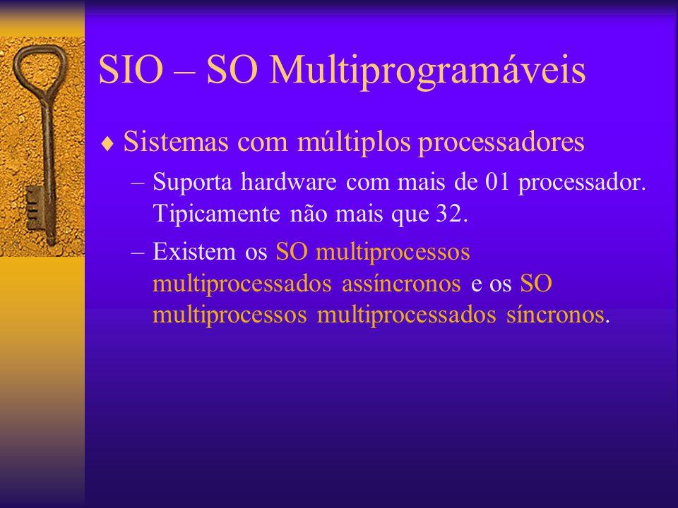 SIO – SO Multiprogramáveis  Sistemas com múltiplos processadores –Suporta hardware com mais de 01 processador. Tipicamente não mais que 32. –Existem