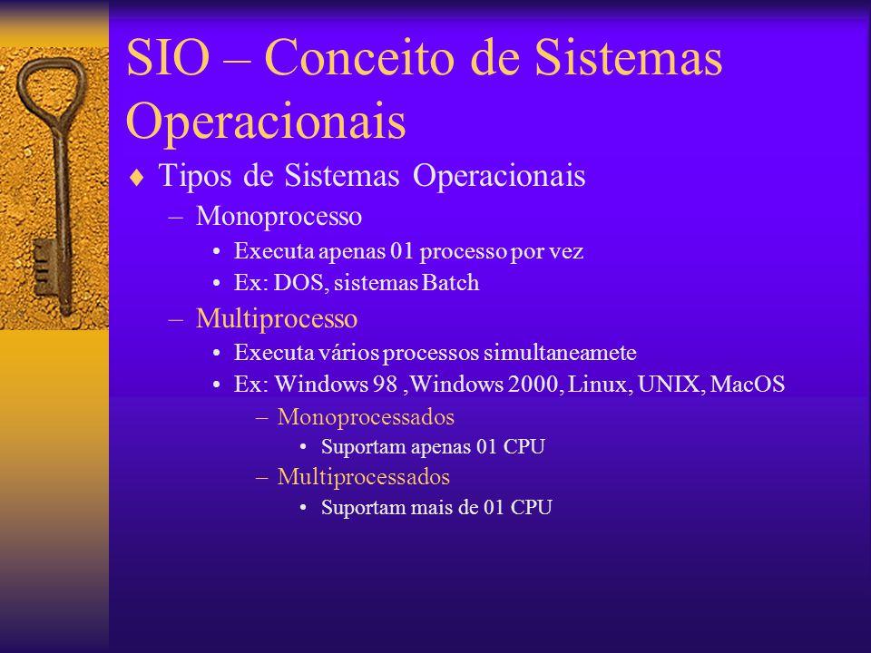 SIO – Conceito de Sistemas Operacionais  Tipos de Sistemas Operacionais –Monoprocesso Executa apenas 01 processo por vez Ex: DOS, sistemas Batch –Multiprocesso Executa vários processos simultaneamete Ex: Windows 98,Windows 2000, Linux, UNIX, MacOS –Monoprocessados Suportam apenas 01 CPU –Multiprocessados Suportam mais de 01 CPU
