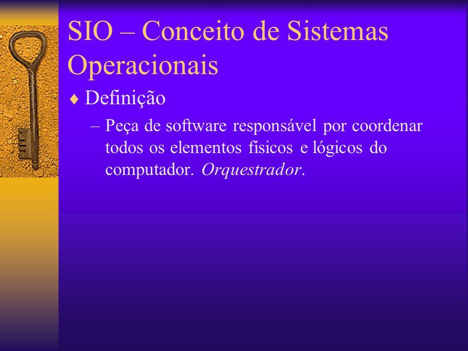 SIO – Conceito de Sistemas Operacionais  Definição –Peça de software responsável por coordenar todos os elementos físicos e lógicos do computador.