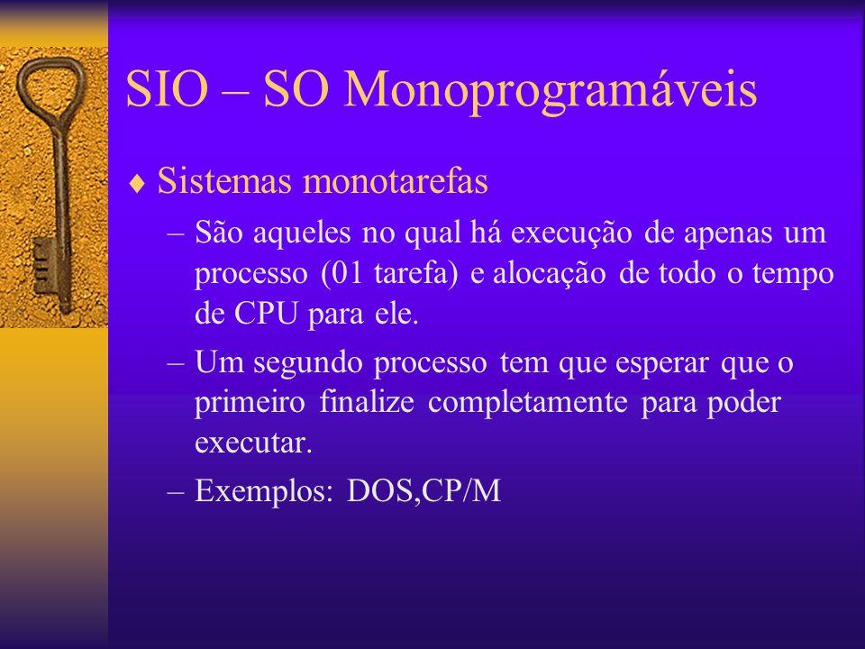 SIO – SO Monoprogramáveis  Sistemas monotarefas –São aqueles no qual há execução de apenas um processo (01 tarefa) e alocação de todo o tempo de CPU