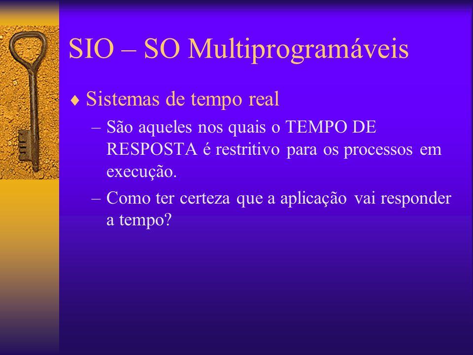 SIO – SO Multiprogramáveis  Sistemas de tempo real –São aqueles nos quais o TEMPO DE RESPOSTA é restritivo para os processos em execução. –Como ter c