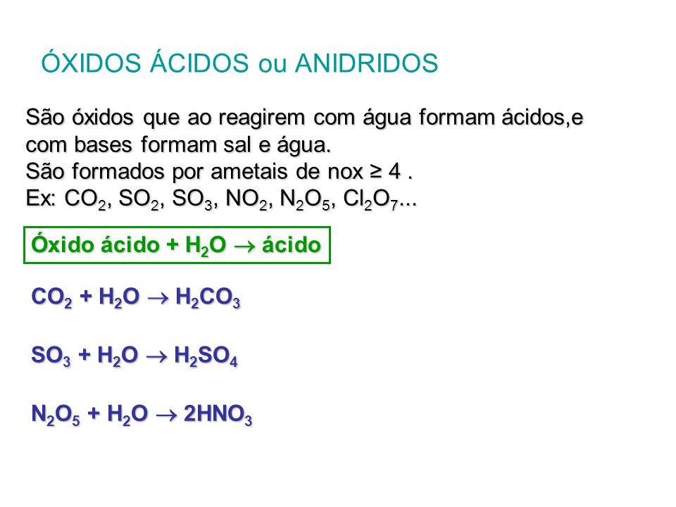 Óxido ácido + base  sal + H 2 O CO 2 + Ca(OH) 2  CaCO 3 + H 2 O SO 3 + 2 NaOH  Na 2 SO 4 + H 2 O