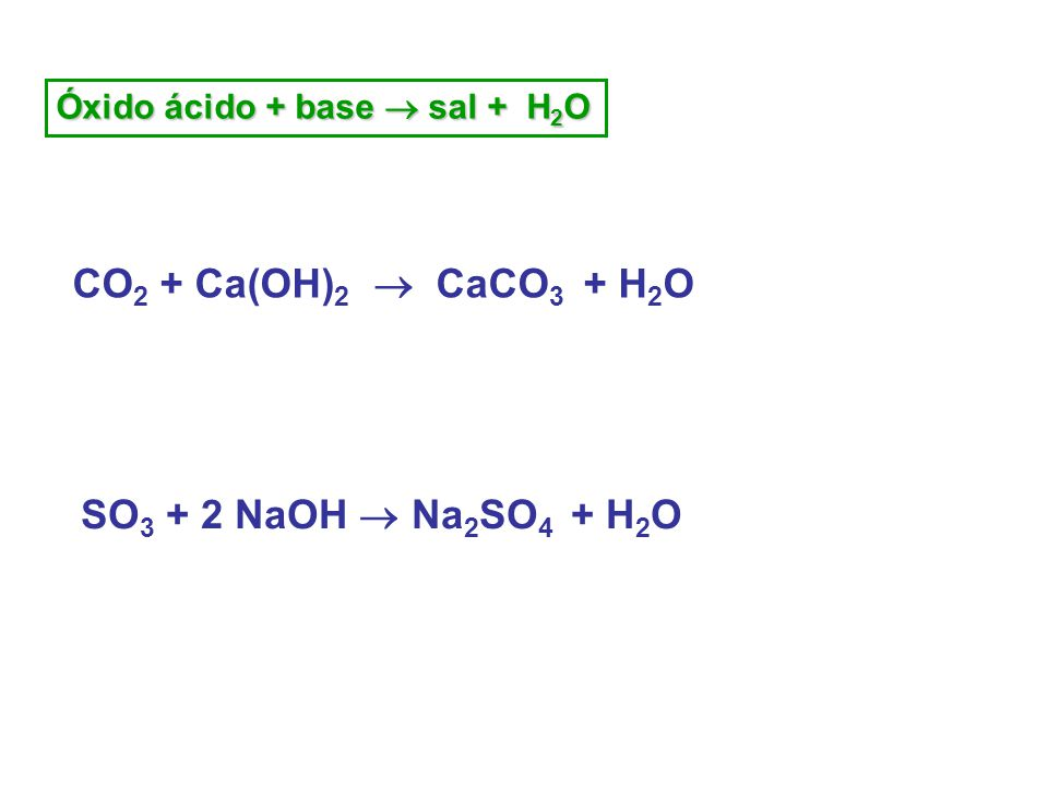 Óxido ácido + base  sal + H 2 O CO 2 + Ca(OH) 2  CaCO 3 + H 2 O SO 3 + 2 NaOH  Na 2 SO 4 + H 2 O