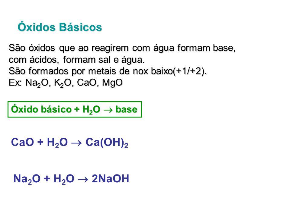 Óxido básico + ácido  sal + H 2 O MgO + 2HCl  MgCl 2 + H 2 O K 2 O + H 2 SO 4  K 2 SO 4 + H 2 O