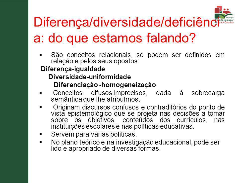 Diferença/diversidade/deficiênci a: do que estamos falando.