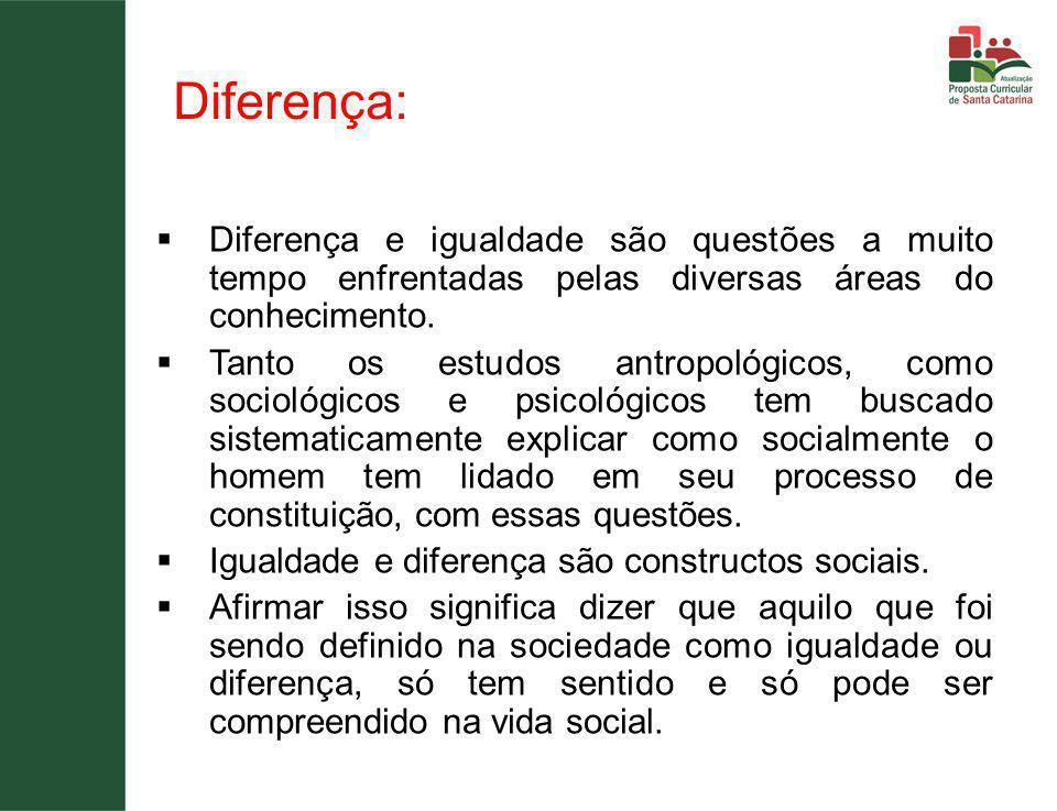 Diferença:  Diferença e igualdade são questões a muito tempo enfrentadas pelas diversas áreas do conhecimento.