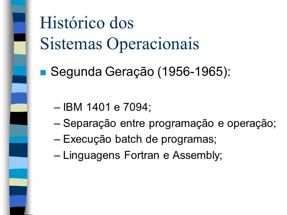 Histórico dos Sistemas Operacionais n Segunda Geração (1956-1965): –IBM 1401 e 7094; –Separação entre programação e operação; –Execução batch de programas; –Linguagens Fortran e Assembly;