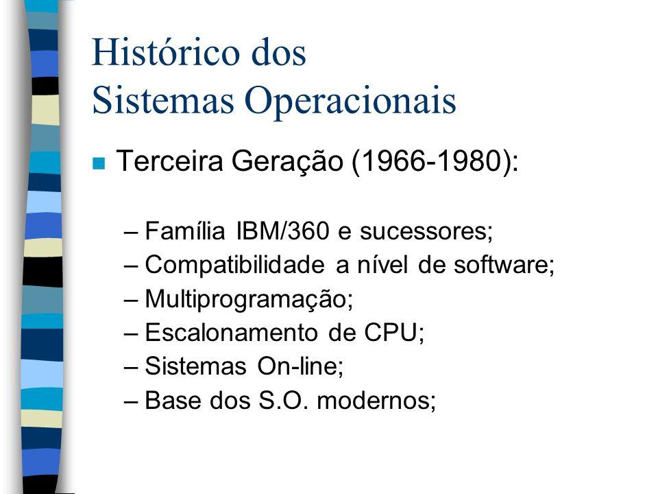 Histórico dos Sistemas Operacionais n Terceira Geração (1966-1980): –Família IBM/360 e sucessores; –Compatibilidade a nível de software; –Multiprogramação; –Escalonamento de CPU; –Sistemas On-line; –Base dos S.O.