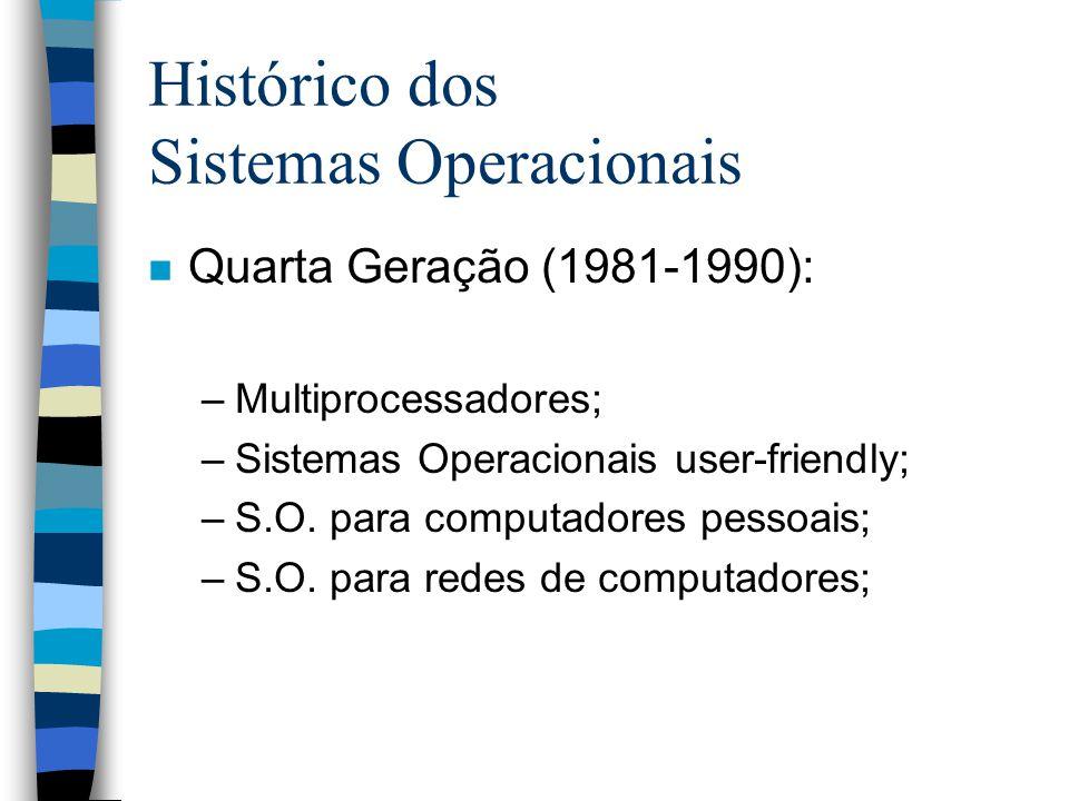 Histórico dos Sistemas Operacionais n Quarta Geração (1981-1990): –Multiprocessadores; –Sistemas Operacionais user-friendly; –S.O.