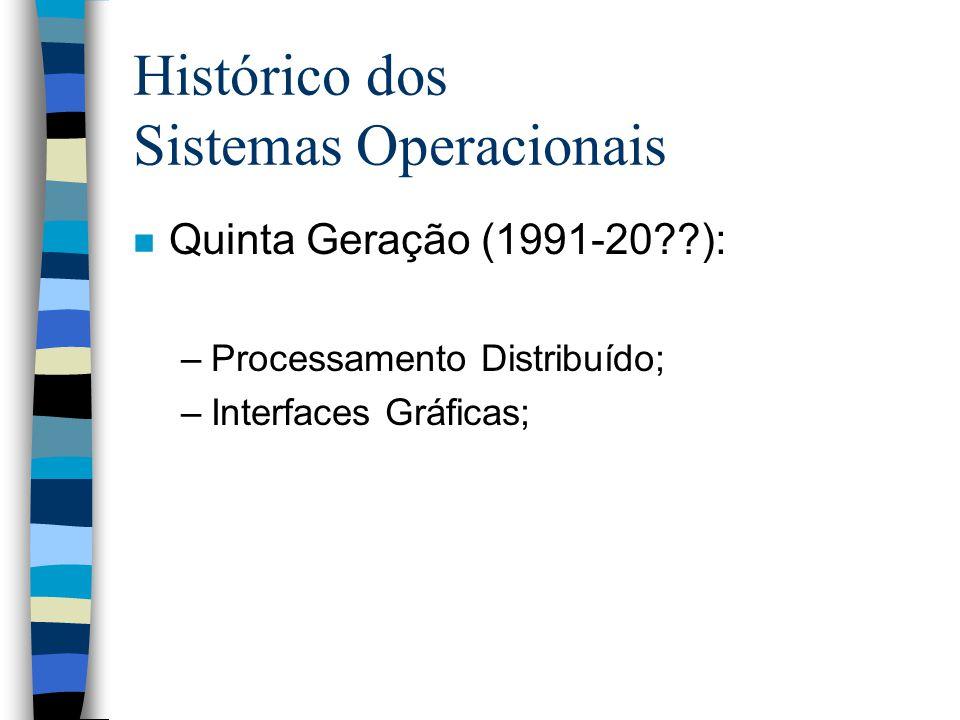 Histórico dos Sistemas Operacionais n Quinta Geração (1991-20??): –Processamento Distribuído; –Interfaces Gráficas;