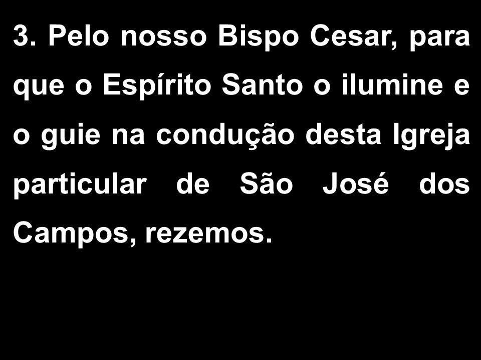 3. Pelo nosso Bispo Cesar, para que o Espírito Santo o ilumine e o guie na condução desta Igreja particular de São José dos Campos, rezemos.