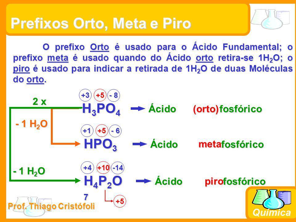 Prof. Thiago Cristófoli Química Prefixos Orto, Meta e Piro O prefixo Orto é usado para o Ácido Fundamental; o prefixo meta é usado quando do Ácido ort