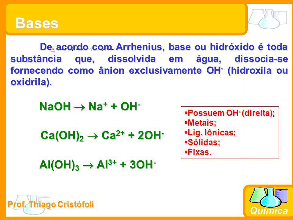Prof. Thiago Cristófoli Química Bases De acordo com Arrhenius, base ou hidróxido é toda substância que, dissolvida em água, dissocia-se fornecendo com