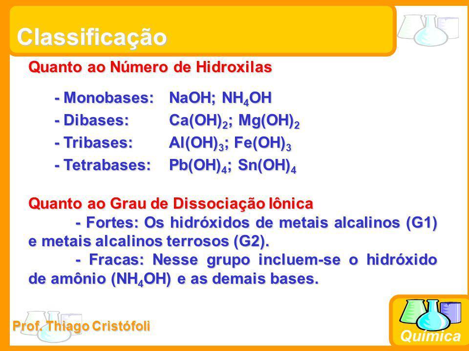 Prof. Thiago Cristófoli Química Classificação Quanto ao Número de Hidroxilas - Monobases: NaOH; NH 4 OH - Monobases: NaOH; NH 4 OH - Dibases: Ca(OH) 2