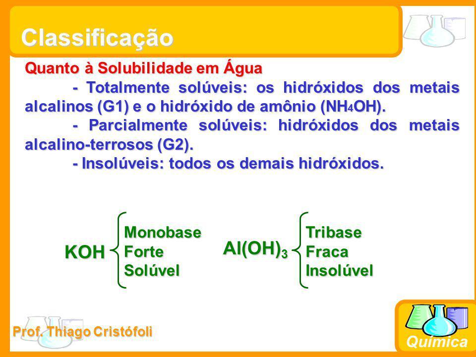 Prof. Thiago Cristófoli Química Classificação Quanto à Solubilidade em Água - Totalmente solúveis: os hidróxidos dos metais alcalinos (G1) e o hidróxi