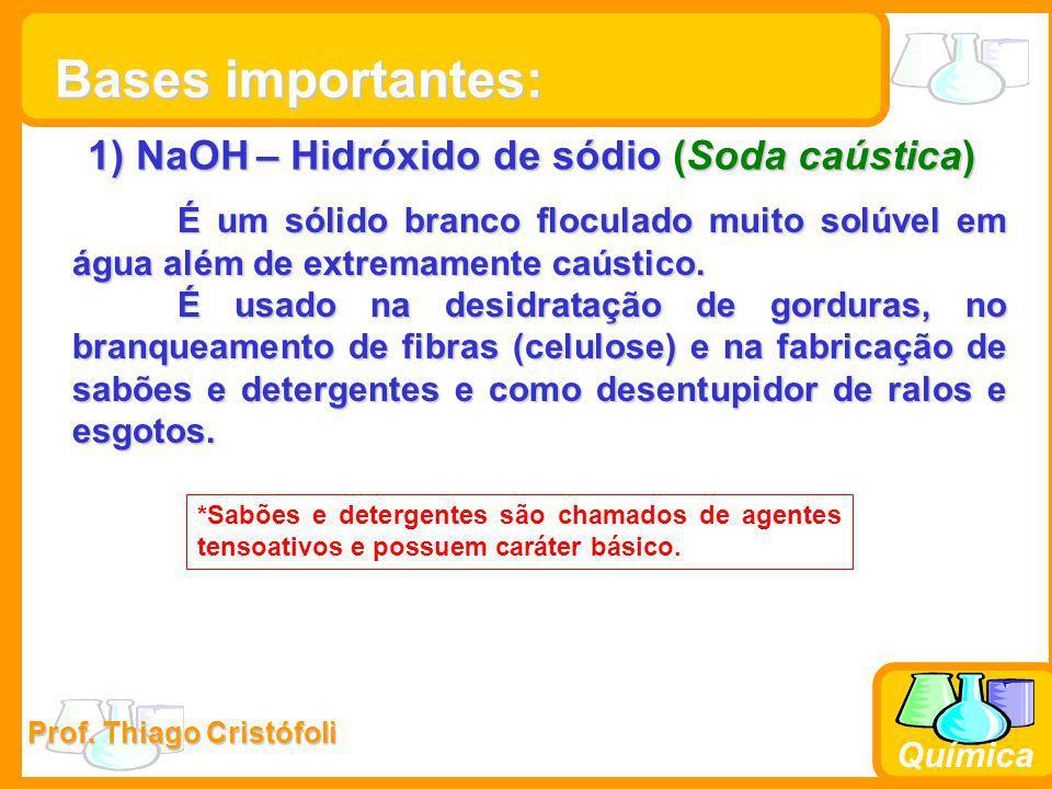 Prof. Thiago Cristófoli Química 1) NaOH – Hidróxido de sódio (Soda caústica) É um sólido branco floculado muito solúvel em água além de extremamente c