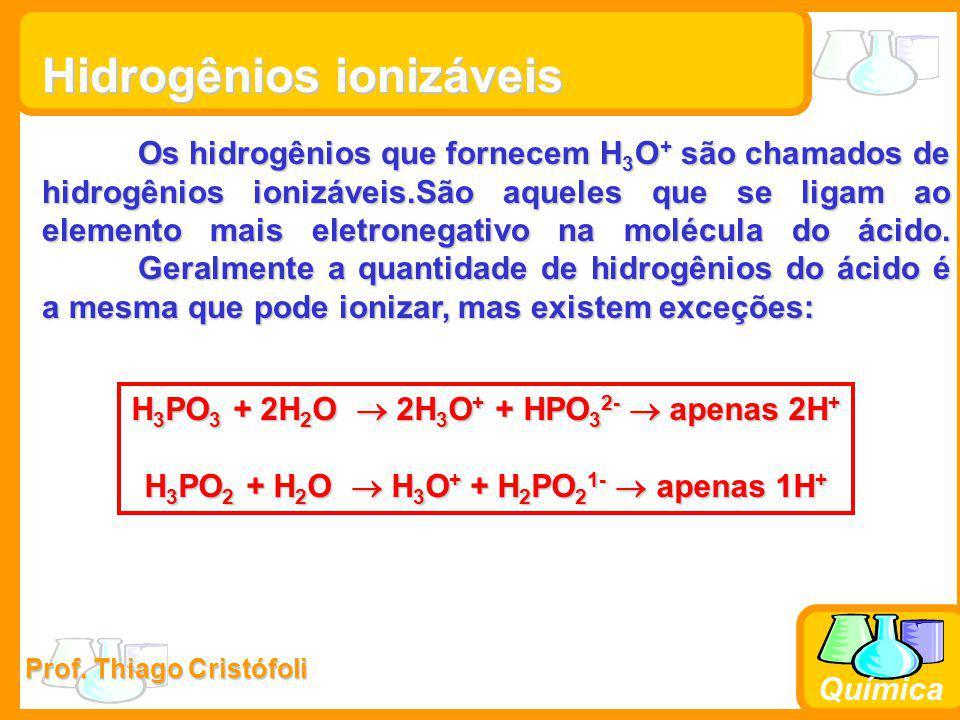 Prof. Thiago Cristófoli Química Hidrogênios ionizáveis Os hidrogênios que fornecem H 3 O + são chamados de hidrogênios ionizáveis.São aqueles que se l