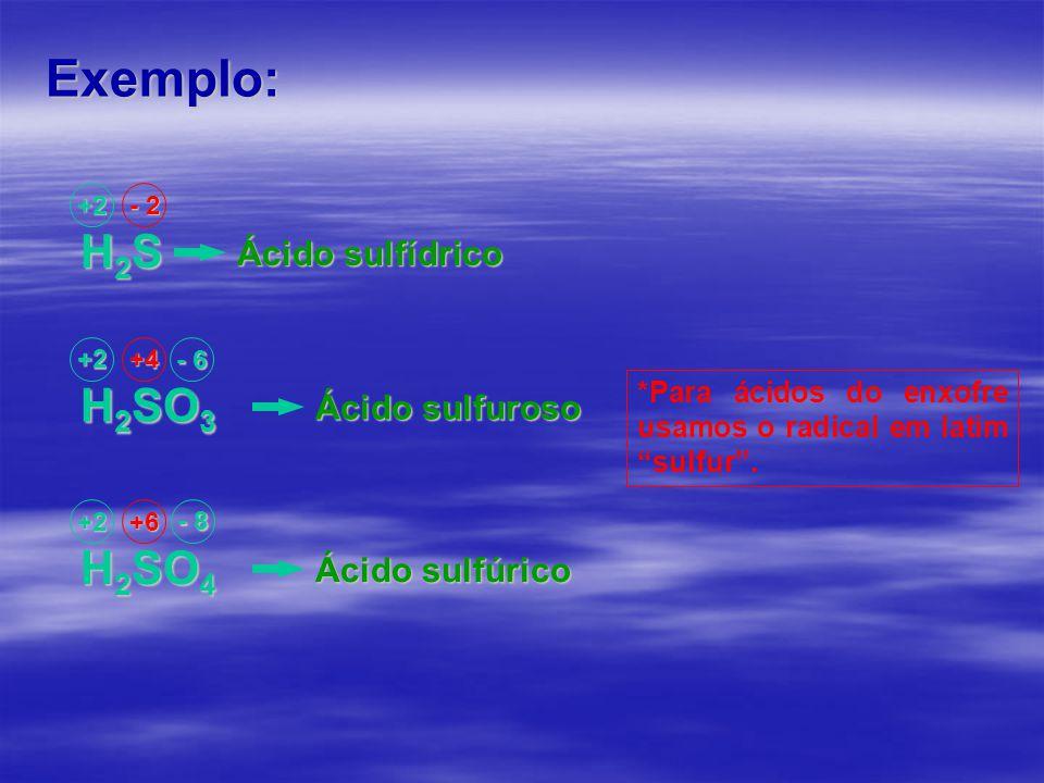 Exemplo: H2SH2SH2SH2S +2 - 2 Ácido sulfídrico H 2 SO 3 +2+4 Ácido sulfuroso H 2 SO 4 +2+6 Ácido sulfúrico - 8 *Para ácidos do enxofre usamos o radical em latim sulfur .