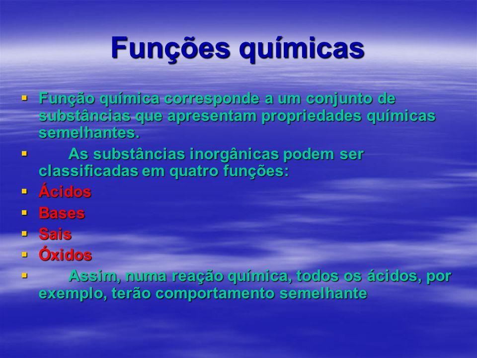 Funções químicas  Função química corresponde a um conjunto de substâncias que apresentam propriedades químicas semelhantes.  As substâncias inorgâni
