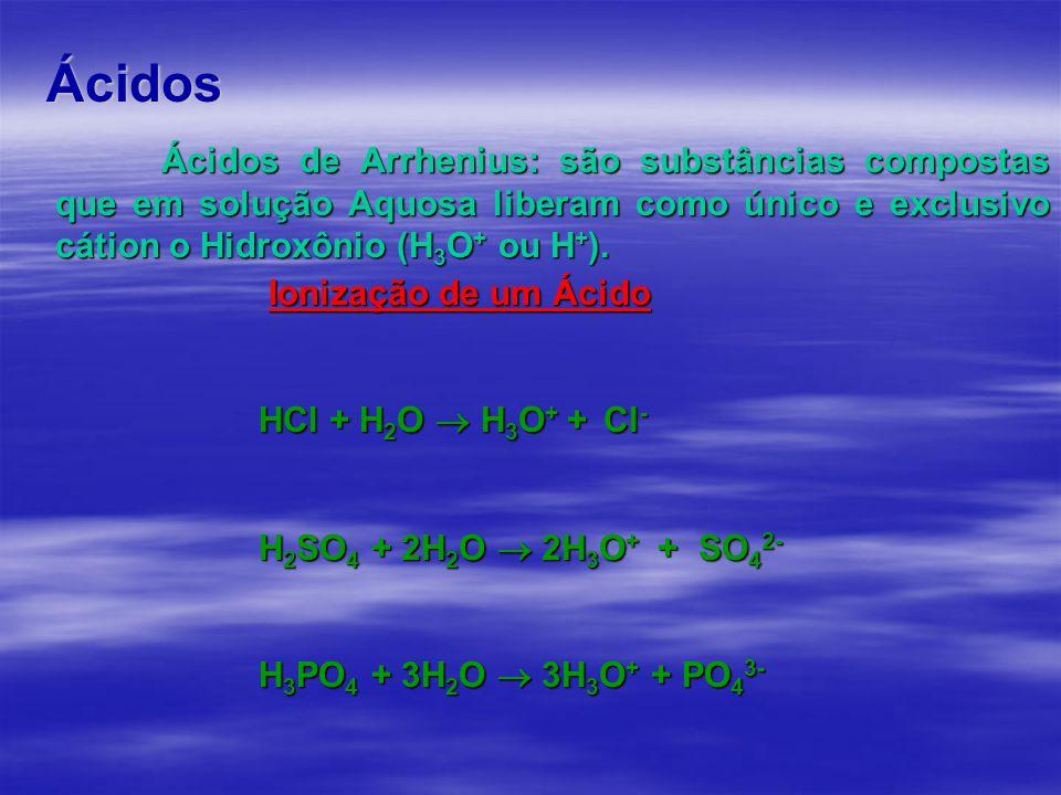 Ácidos Ácidos de Arrhenius: são substâncias compostas que em solução Aquosa liberam como único e exclusivo cátion o Hidroxônio (H 3 O + ou H + ).