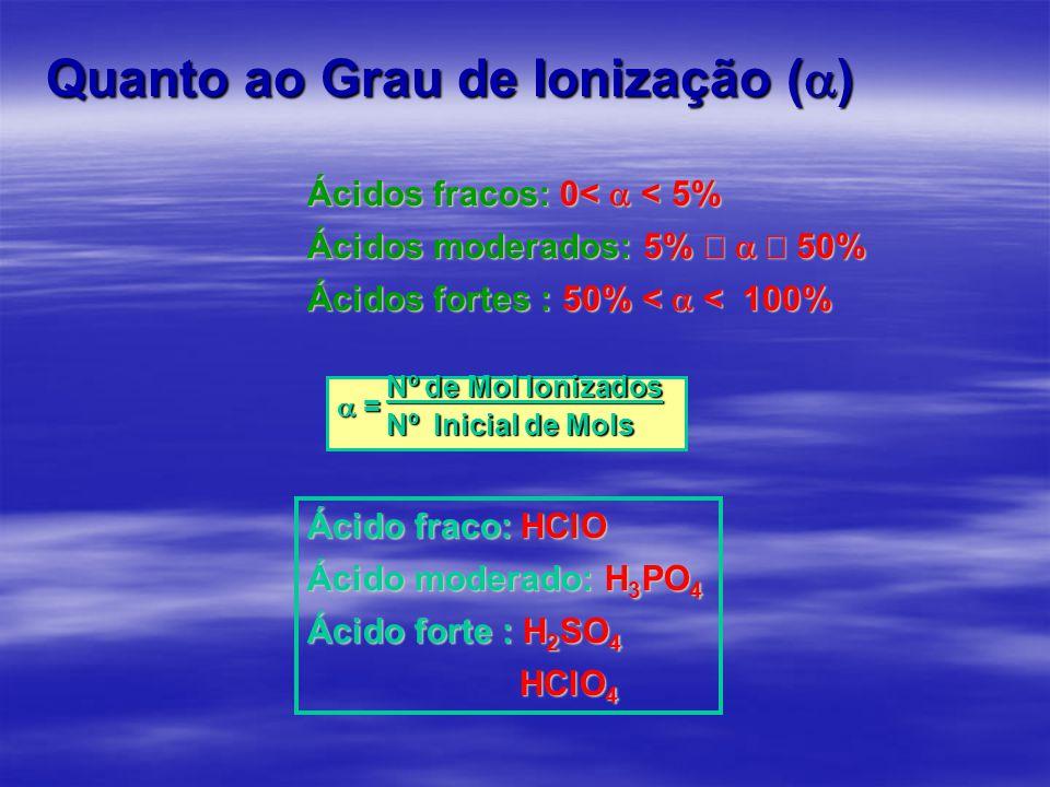 Quanto ao Grau de Ionização (  ) Ácidos fracos: 0<  < 5% Ácidos moderados: 5%   50% Ácidos fortes : 50% <  <  100% Nº de Mol Ionizados Nº de Mol Ionizados  = Nº Inicial de Mols Nº Inicial de Mols Ácido fraco: HClO Ácido moderado: H 3 PO 4 Ácido forte : H 2 SO 4 HClO 4 HClO 4