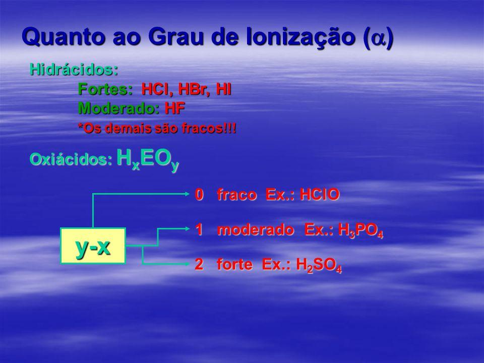 Quanto ao Grau de Ionização (  ) Hidrácidos: Fortes: HCl, HBr, HI Moderado: HF *Os demais são fracos!!! Oxiácidos: H x EO y 0 fraco Ex.: HClO 1 moder