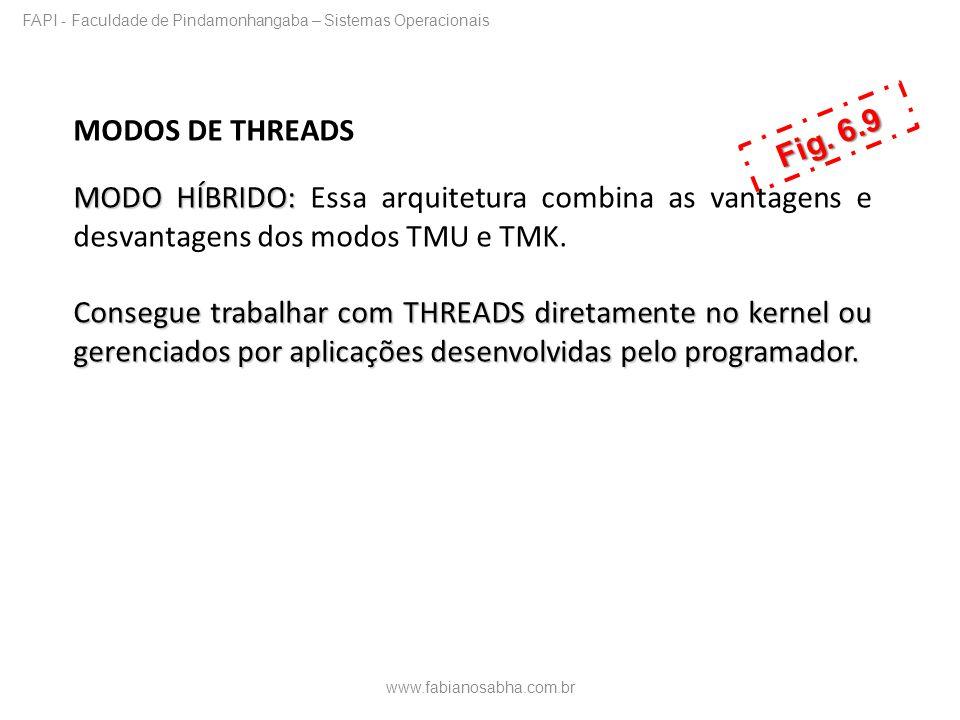MODOS DE THREADS MODO HÍBRIDO: MODO HÍBRIDO: Essa arquitetura combina as vantagens e desvantagens dos modos TMU e TMK. Consegue trabalhar com THREADS