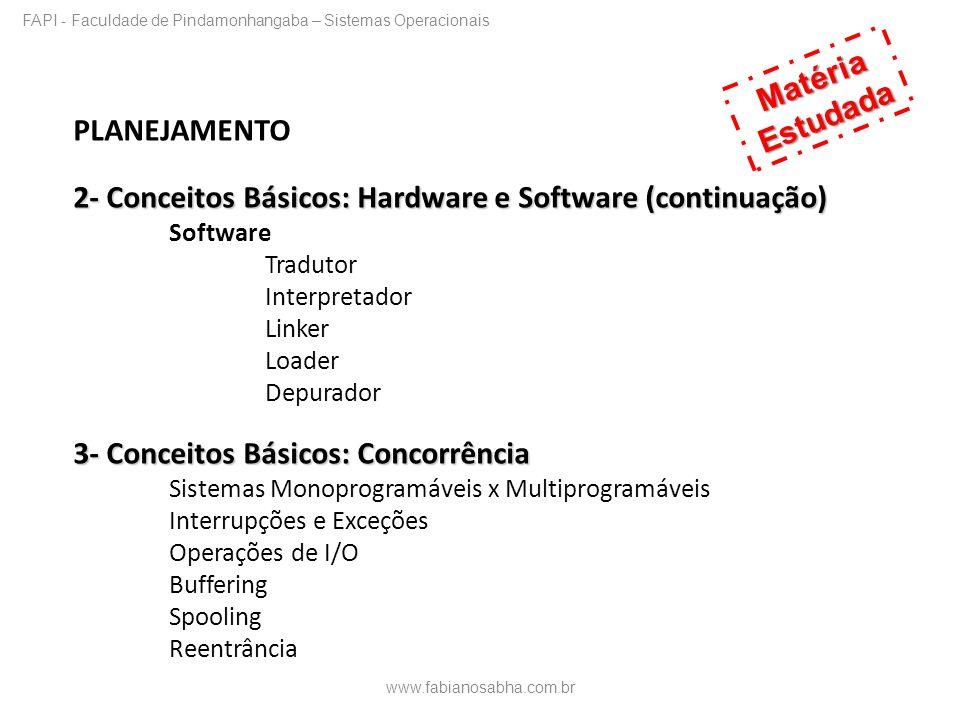 PLANEJAMENTO 2- Conceitos Básicos: Hardware e Software (continuação) Software Tradutor Interpretador Linker Loader Depurador 3- Conceitos Básicos: Con