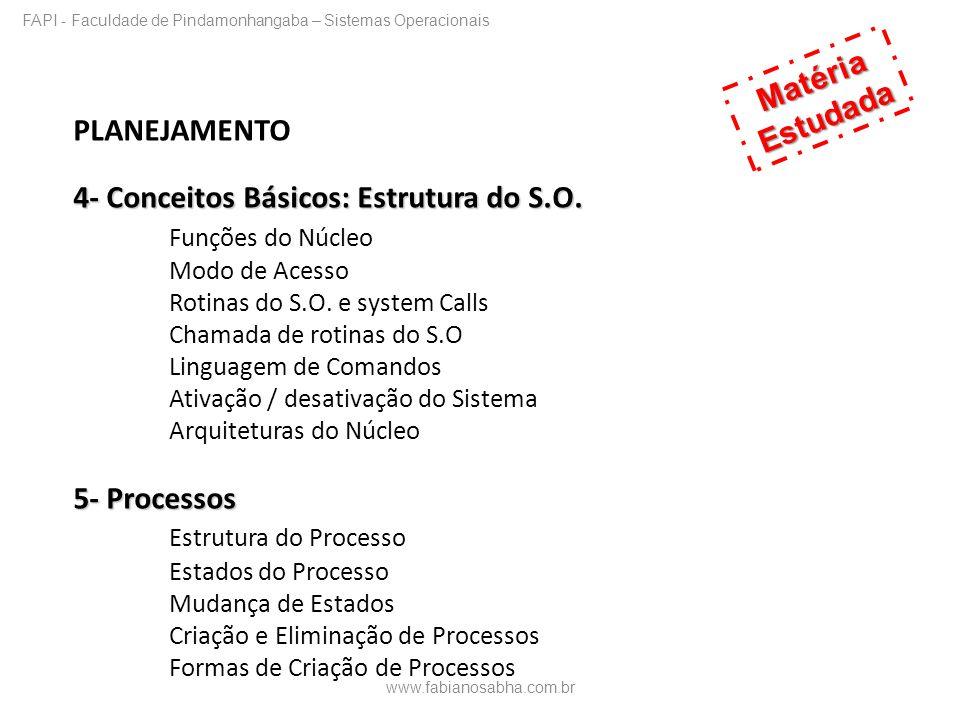 PLANEJAMENTO 4- Conceitos Básicos: Estrutura do S.O. Funções do Núcleo Modo de Acesso Rotinas do S.O. e system Calls Chamada de rotinas do S.O Linguag