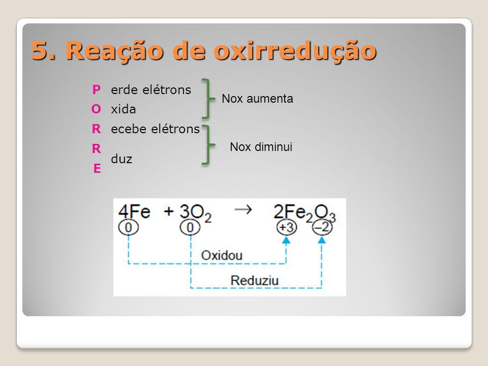 5. Reação de oxirredução Perde elétrons Oxida Recebe elétrons R duz E Nox aumenta Nox diminui