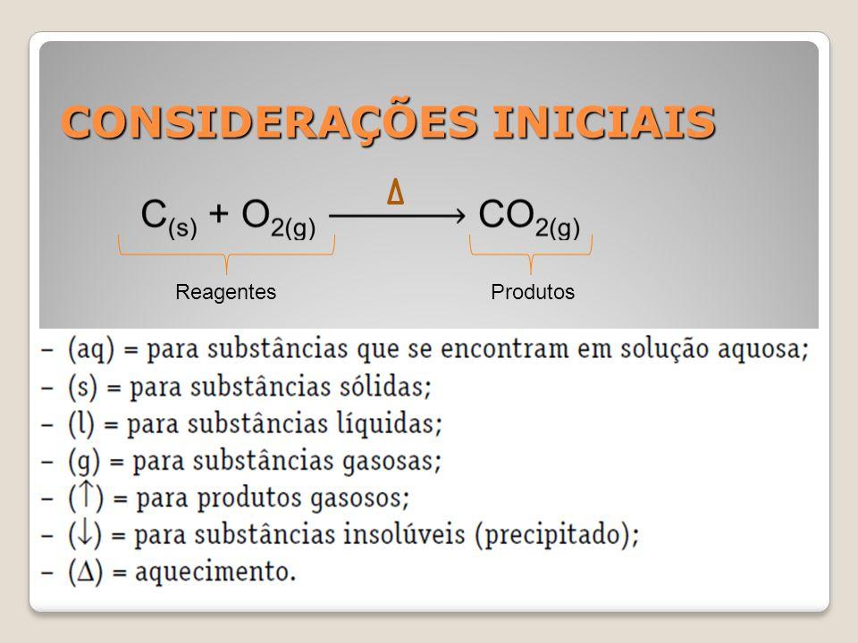 CONSIDERAÇÕES INICIAIS Reagentes Produtos