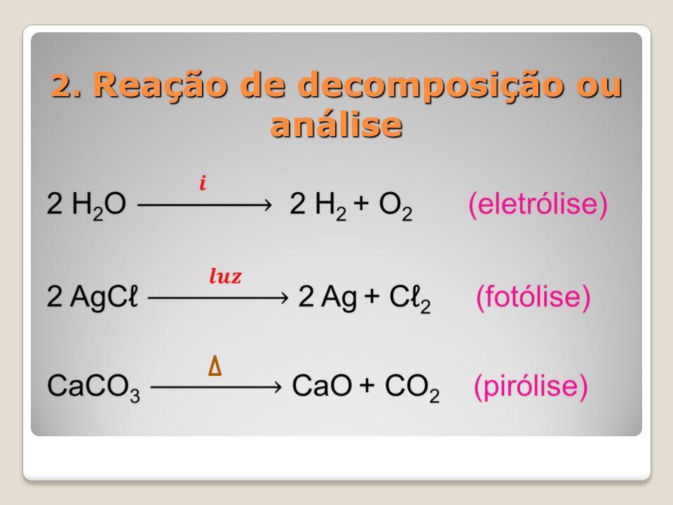 2. Reação de decomposição ou análise