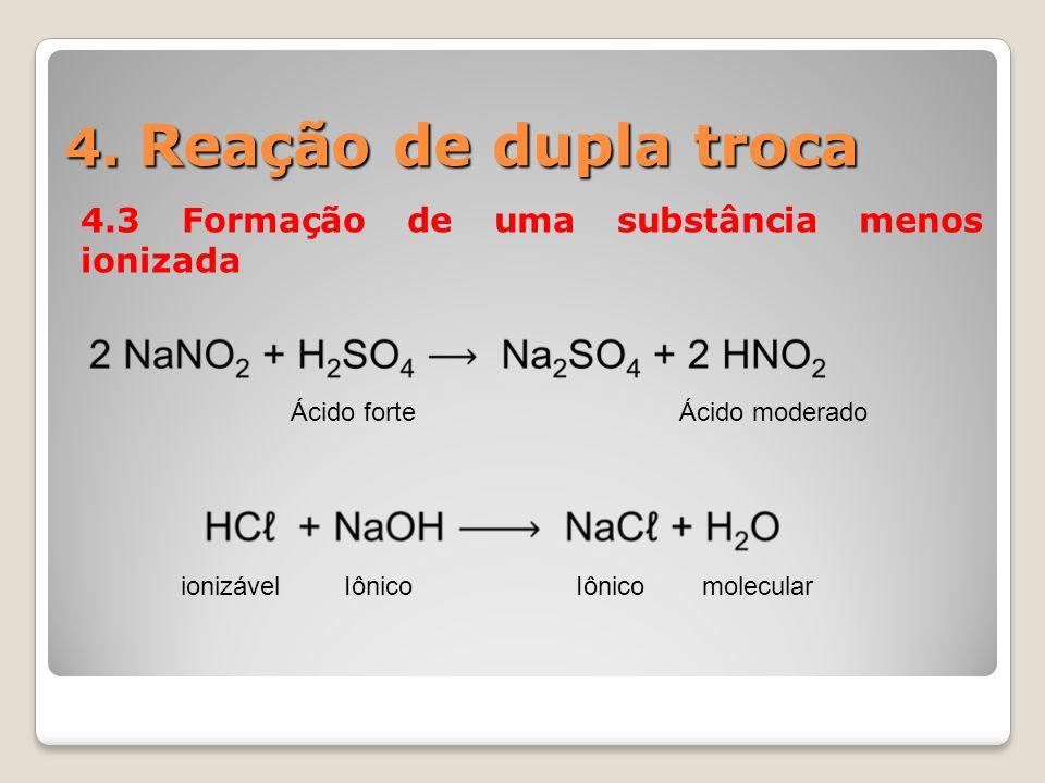 4. Reação de dupla troca 4.3 Formação de uma substância menos ionizada Ácido forteÁcido moderado ionizávelIônico molecular