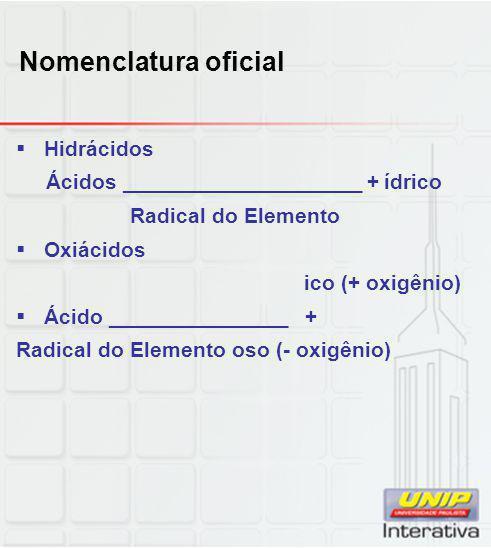 Nomenclatura oficial  Hidrácidos Ácidos ____________________ + ídrico Radical do Elemento  Oxiácidos ico (+ oxigênio)  Ácido _______________ + Radi