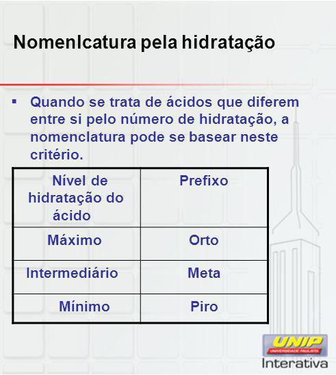 Nomenlcatura pela hidratação  Quando se trata de ácidos que diferem entre si pelo número de hidratação, a nomenclatura pode se basear neste critério.